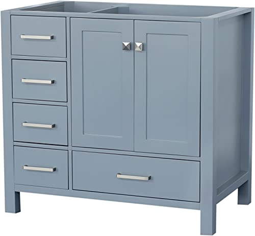 ARIEL Cambridge A037S-R-BC-GRY 36 Inch Single Right Offset Solid Hardwood Grey Bathroom Vanity Base Cabinet with Two Soft-Closing Doors and Five Self-Closing Drawers