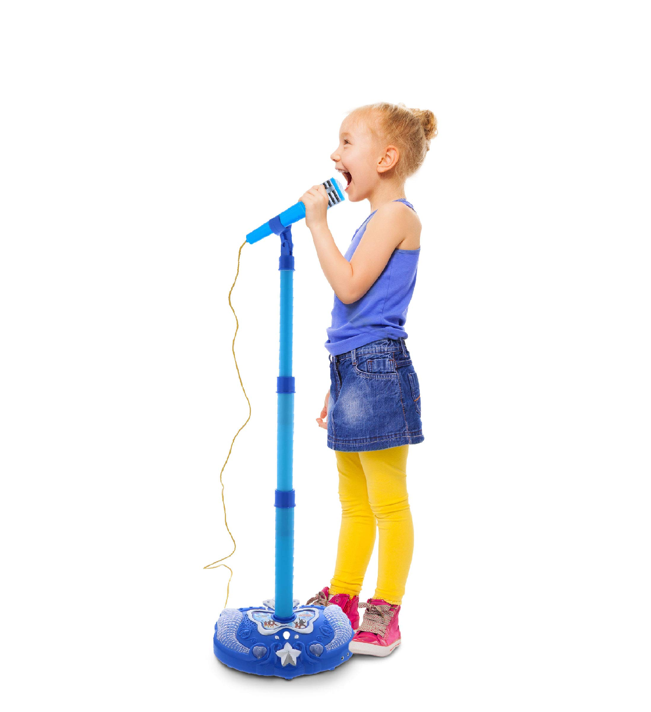 Mozlly Blue Light Up Karaoke Machine with Toy Microphone & Adjustable Stand, Connect to MP3 Player AUX Smart Phones for Solo Singing Parties Sing-A-Along Built in Speaker Flashing Lights for Kids by Mozlly (Image #3)