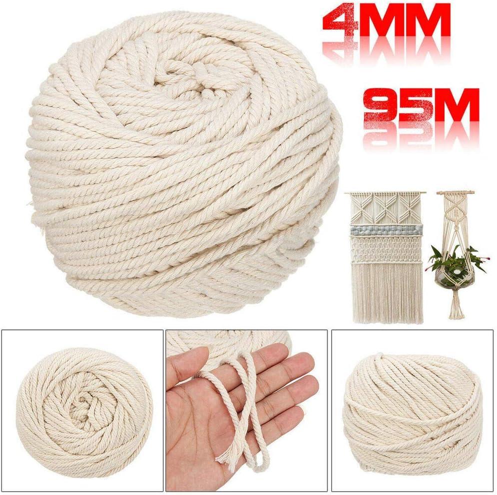 Cuerda de macramé de color beige para manualidades y manualidades, diseño de cuerda trenzada de algodón, 4 mm de diámetro, 95 m de longitud