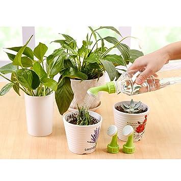 OUNONA - 2 piezas de accesorios de jardinería de plástico para botella de riego con tapas de agua y boquilla de riego para aspersor: Amazon.es: Hogar