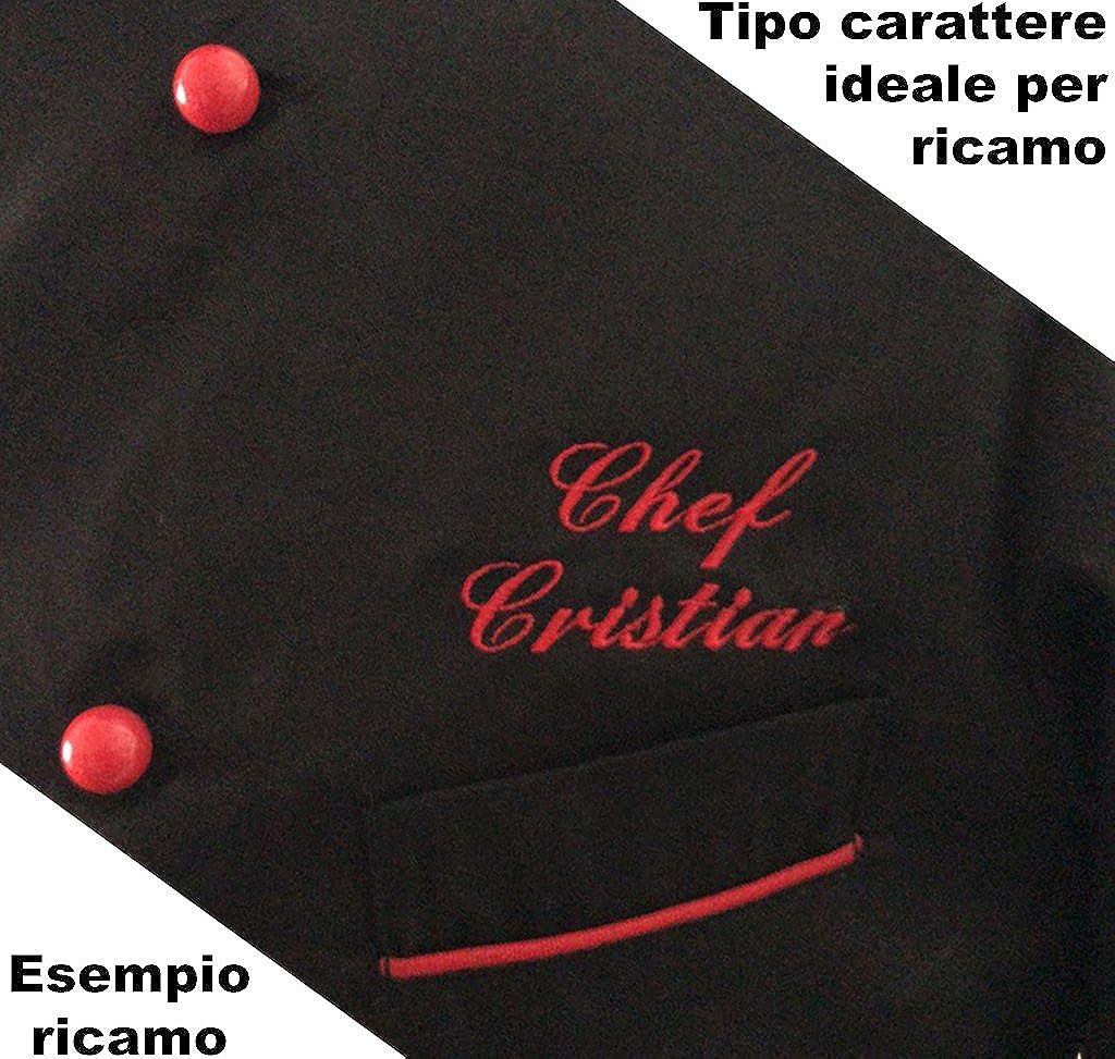 s Giacca Cuoco Ricamata Isacco Modello Panama Slim Nero Rosso con Nome Personalizzabile Online