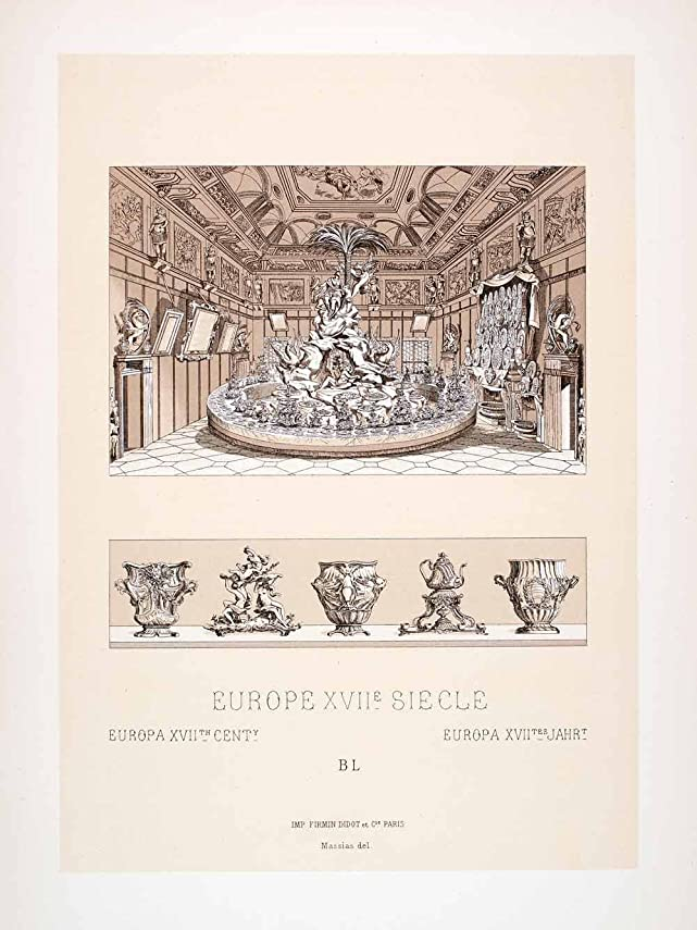 1888 Chromolithograph Surtout Table Setting 17th Century ...