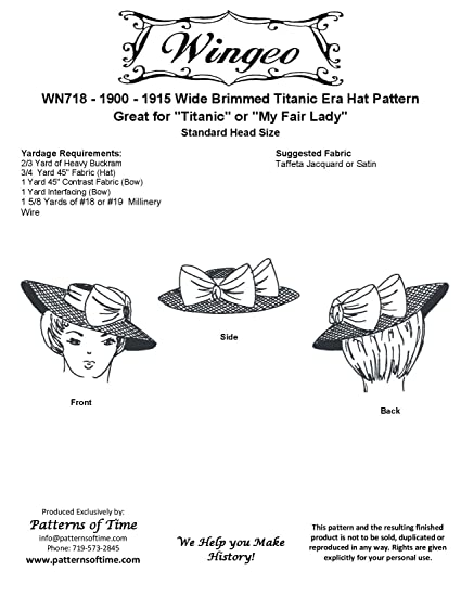 Amazon.com  1900-1915 Wide Brimmed Hat Pattern  Arts f09d0ae8ed3
