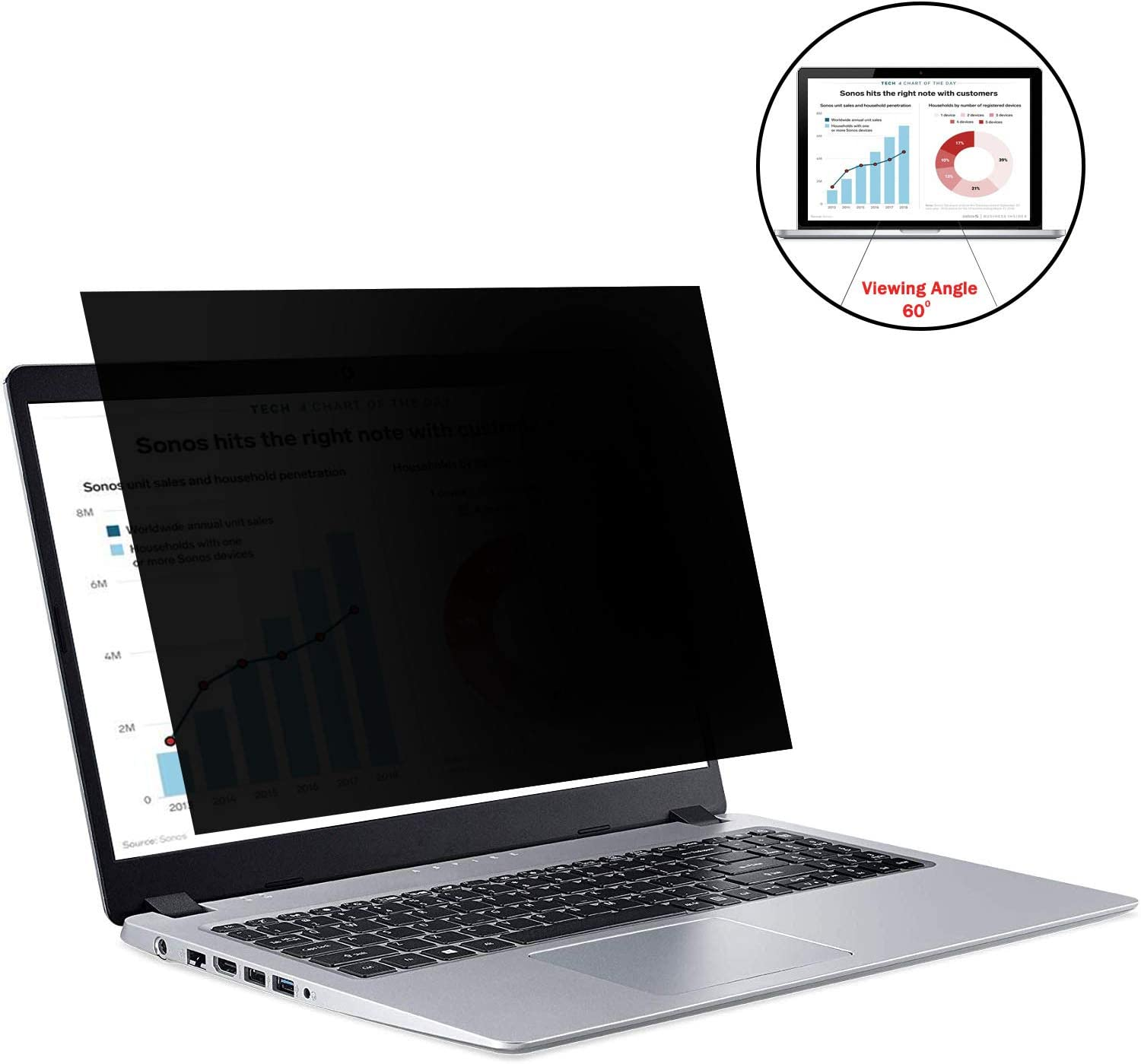 Laptop Privacy Screen Protector 15.6 Inch Widescreen, 15.6