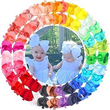 2ddf99c6b 30 Pieces/Colors Handmade 6 Inches Grosgrain Ribbon Big Hair Bows Headbands  for Baby Girls
