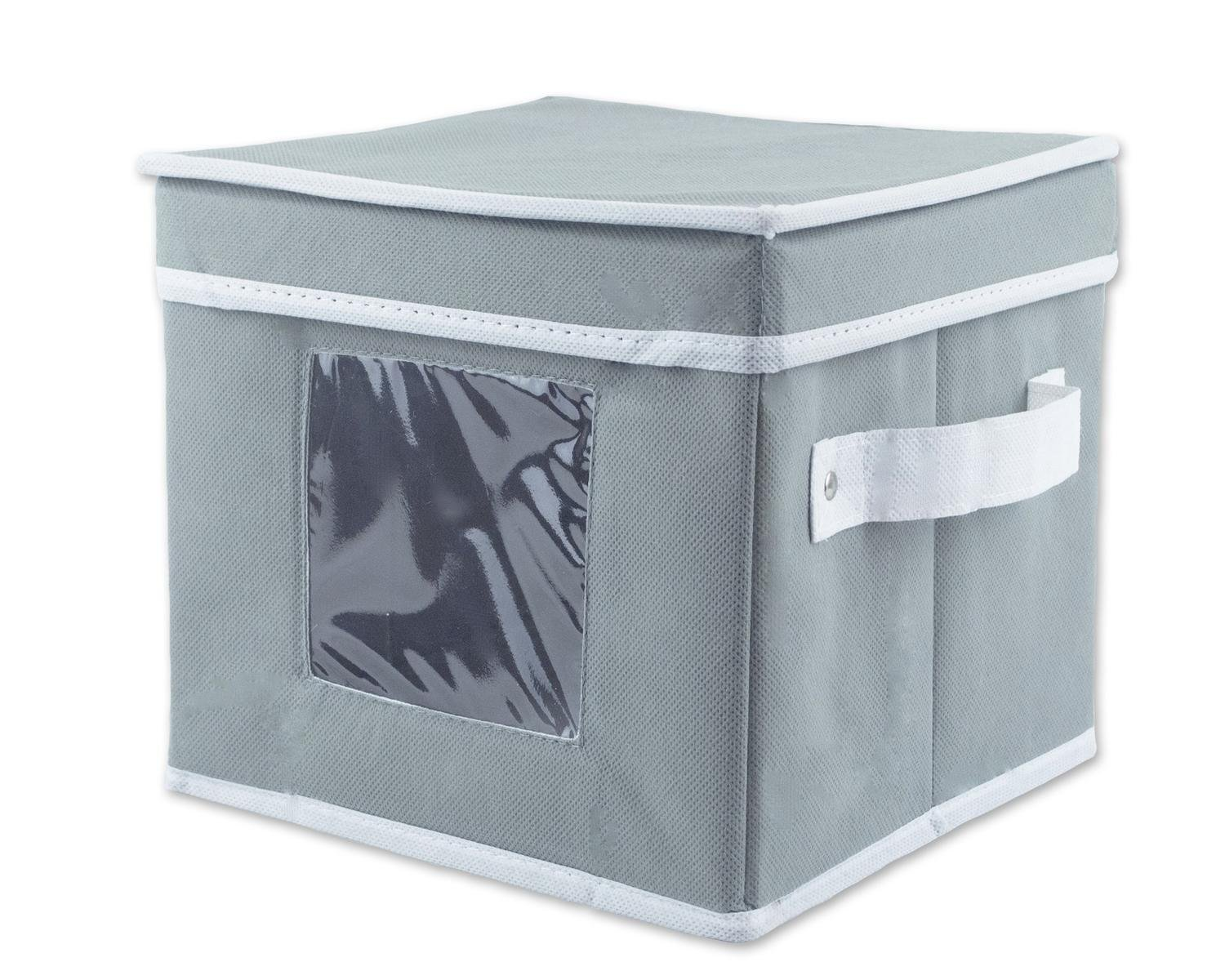 """8"""" Gray and White Solid Pattern Saucer Storage Bin with Viewing Window and Handle"""