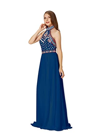 Chic Queen Womens Sexy Long Chiffon colorsembroidery Applique Evening Prom Dress