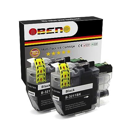 OBENO - 2 BK - LC3211 LC3213 Paquete de 2 cartuchos de tinta Compatibles para Brother LC3211 MFC-J890DW, MFC-J895DW, DCP-J772DW, DCP-J774DW, ...