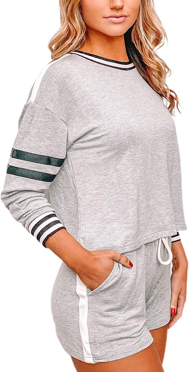 FIYOTE Women/'s 2 Piece Active Tracksuits Long Sleeve Top and Drawstring Workout Running Pants 2 Pcs Lounge Jogger Set
