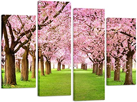 Amazon Com Kreative Arts 4 Pieces Large Cherry Blossom Trees Photo Canvas Wall Art Spring Pink Forest Picture Framed Artwork Wall Decoration Ready To Hang Posters Prints