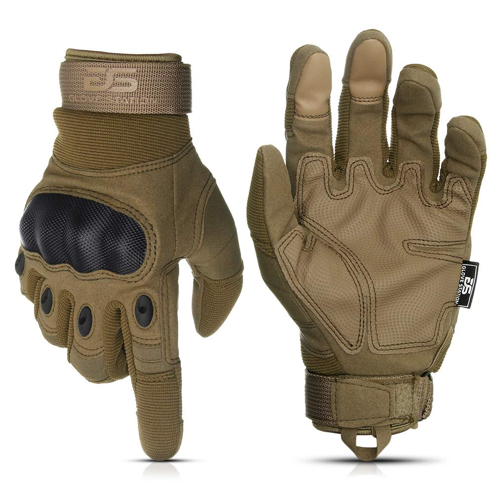 Glove Station The Combat Military Police Outdoor Sports Tactical Rubber Hard Knuckle Gloves for Men (Tan, Medium) by Glove Station
