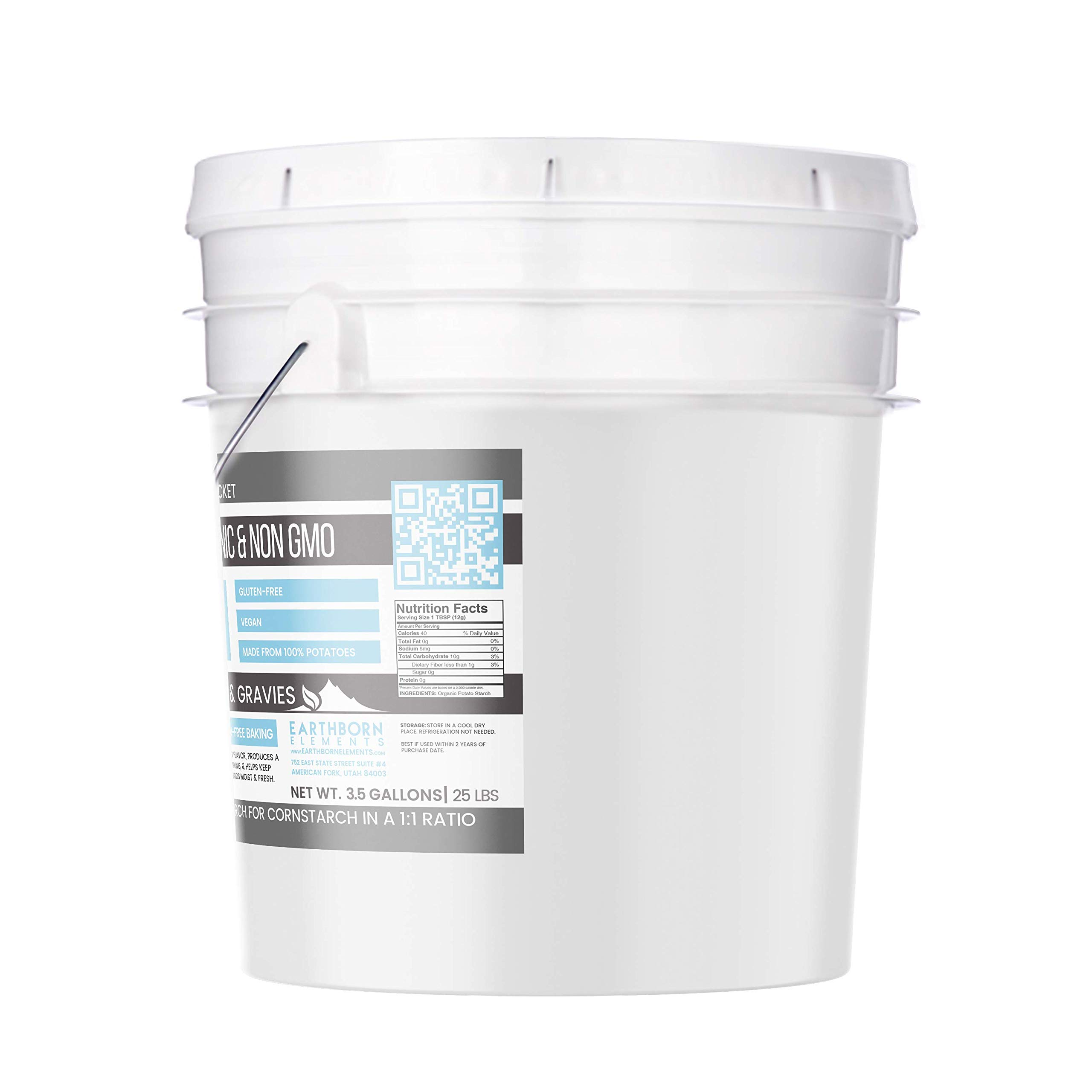 Potato Starch (3.5 gallon (25 lbs.)) by Earthborn Elements, Resealable bucket, Gluten-Free, NON-GMO, All-Natural, Thickener For Sauces, Soup, & Gravy, No Added Preservatives Or Artificial Ingredients by Earthborn Elements (Image #2)
