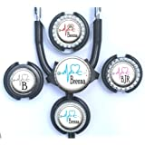 Stethoscope Id Tag - Customized Medical EKG Heart Standard or Yoke Steth Tag in 8 Colors with Name, Monogram, Occupation Title