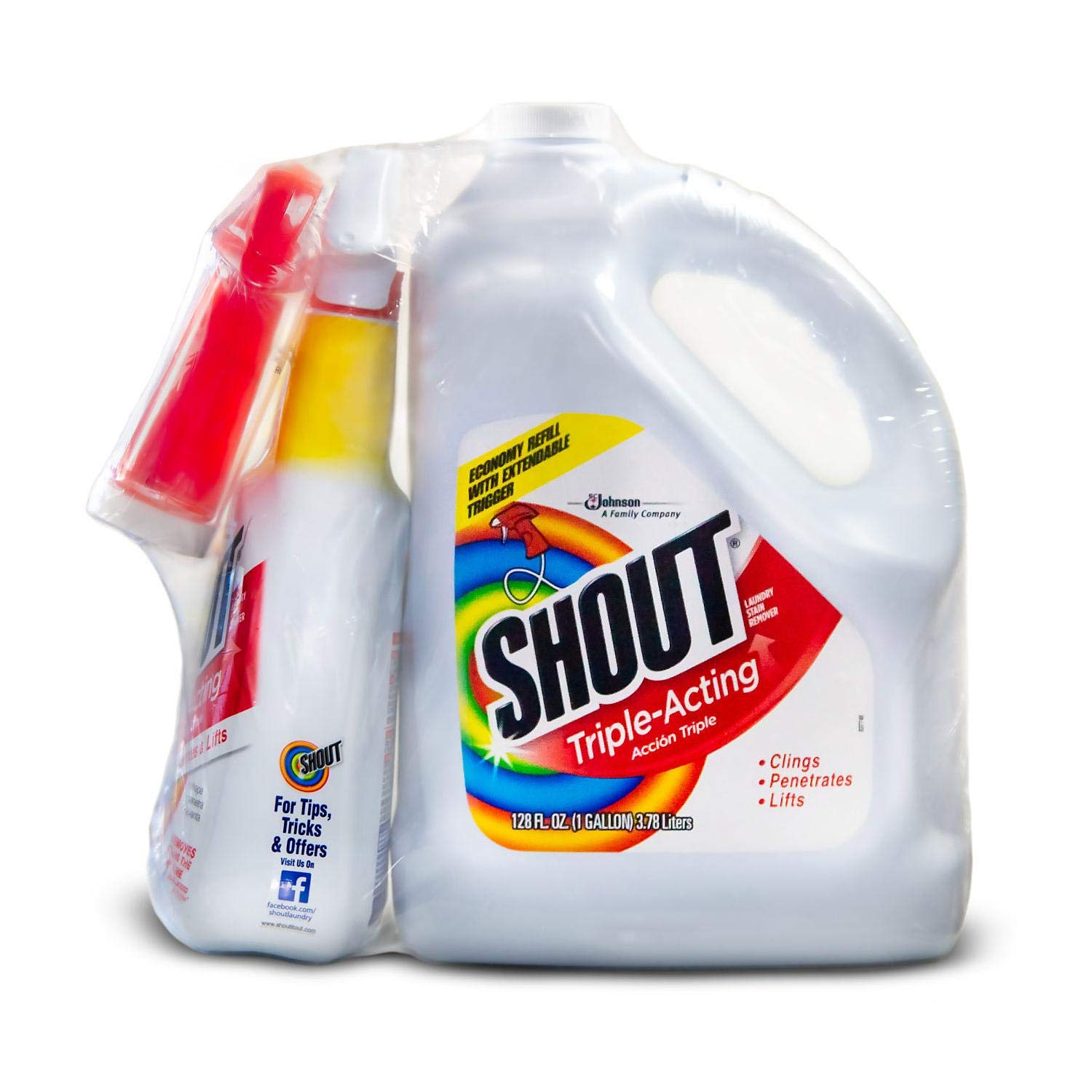 Shout Triple-Acting Liquid 1 Gallon Refill + 32 oz. Shout Trigger zaz (32 oz. Shout Trigger + 1 Gallon Refill +)