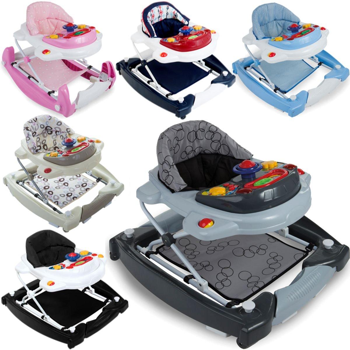 2IN1 Lauflernhilfe / Babyschaukel mit Spielcenter (12 Melodien) und Einlage (PINK) Stimo24