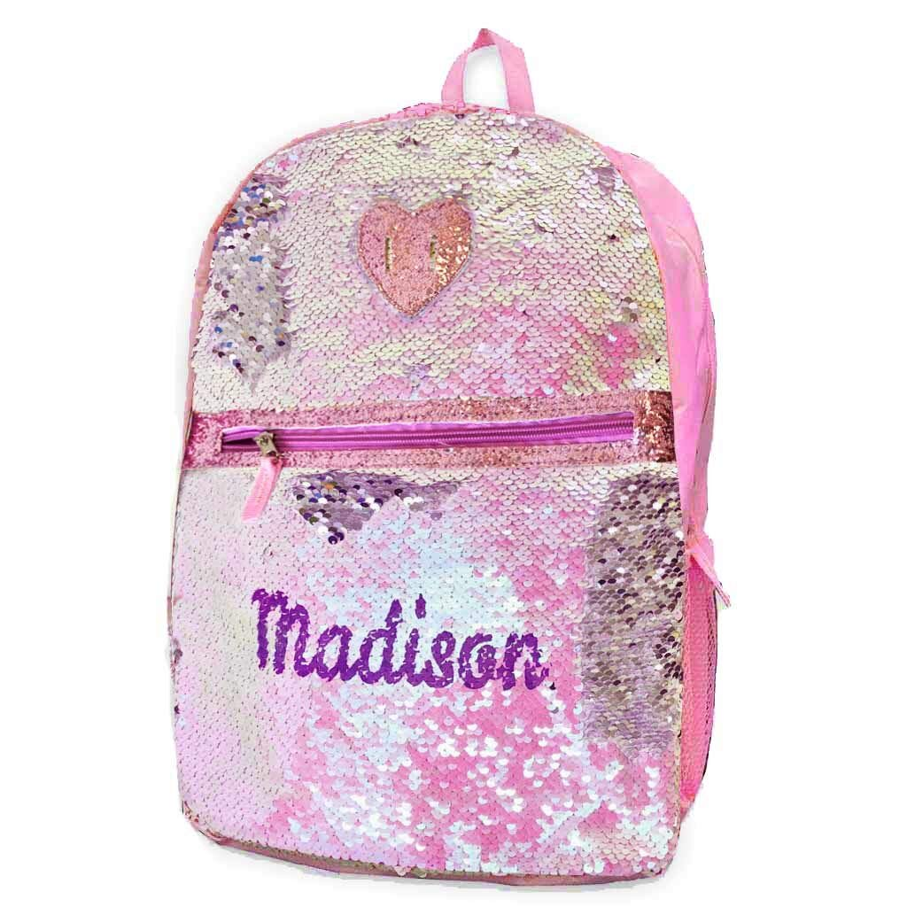 Personalized Magic Reversible Sequins Backpack (Pink & Silver)