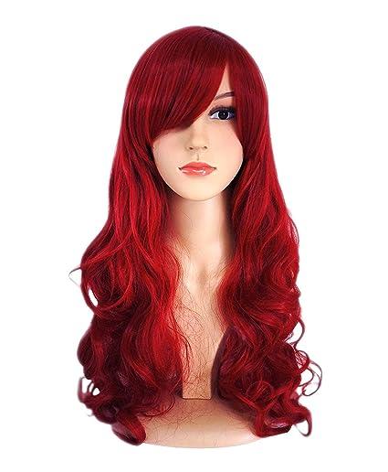 Peluca de pelo largo y ondulado para mujer, color rojo, resistente al calor,