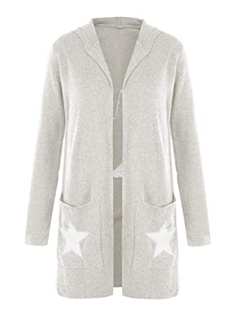 63db7b2ac0b Image Unavailable. Image not available for. Color  Ofenbuy Womens Cardigans  Chunky Open Front Long Sleeve Star Knit Sweater Hooded Cardigan