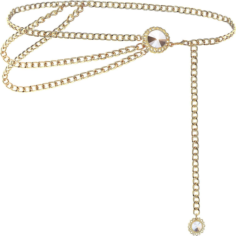 BAOKELAN Rhinestones Chain Belts for Women Girls Waist Chain for Dresses