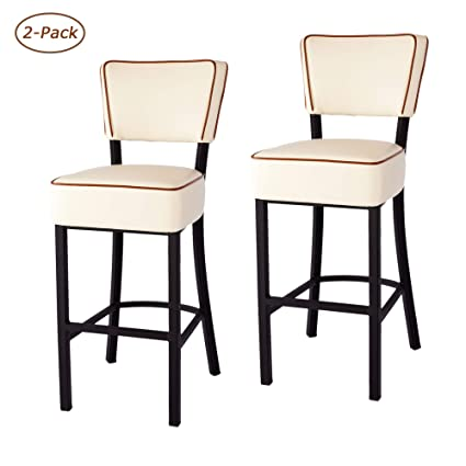 Awesome Luckyermore 30 Bar Stools Set Of 2 Counter Pub Height Stool Leather Modern Home Kitchen Breakfast Dining Chairs Beige Alphanode Cool Chair Designs And Ideas Alphanodeonline
