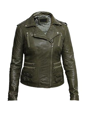 fd18114363f8 Brandslock Femmes dames 100% réel Veste motard en cuir noir Aménagée Bikers  style Vintage Rock  Amazon.fr  Vêtements et accessoires