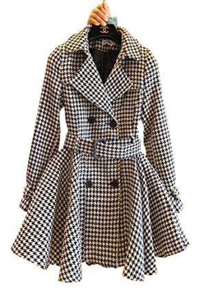 fc626ea4e8 Angel Lily Oversized trench HOUNDSTOOTH wool blend jacket plus SIZE ...