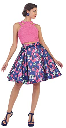 Royal Queen RQ7459 Short Two Piece Prom Dress (4, Hot Pink/Multi)