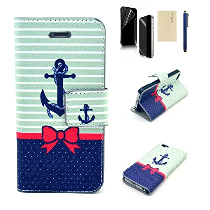 brand new 029f8 2a90c For Iphone 4/4S Case YCAun Wallet Flip Folio Cute Cover Case PU Leather  Stand Magnet Slim Fit Case With Card Holder/Slots and Stylus and Screen ...