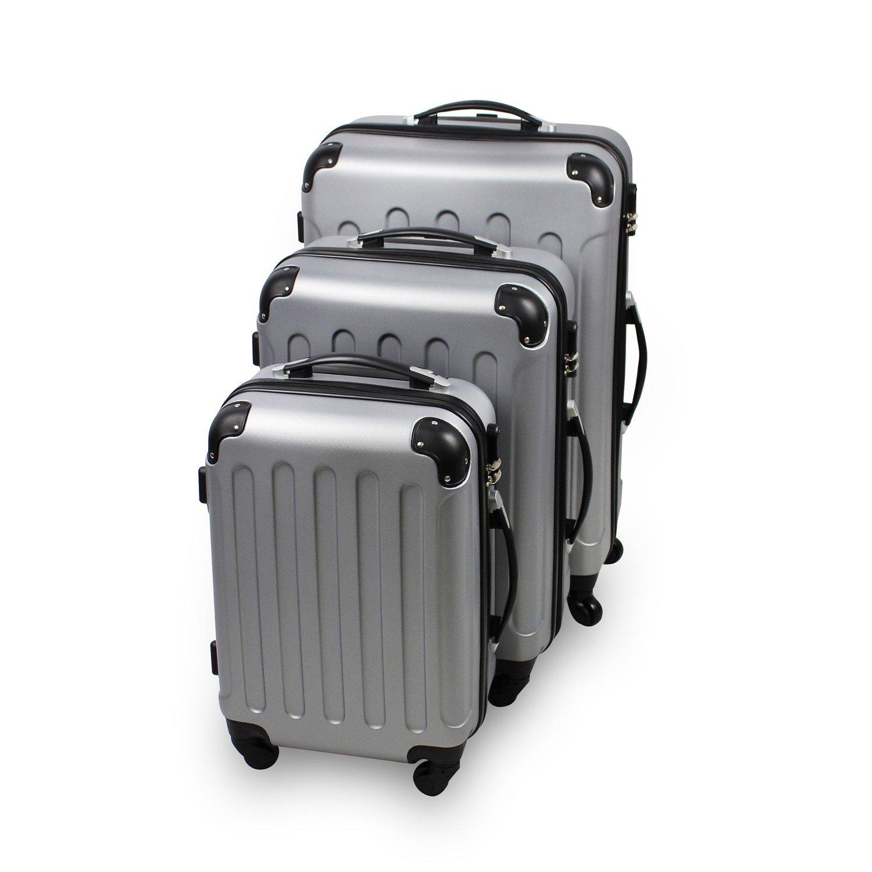 Todeco - Set de Valises, Bagages pour Voyage - Matériau: Plastique ABS - Roues: 4 roues à rotation 360° - Coins protégés, 51 61 71 cm, Argent, ABS