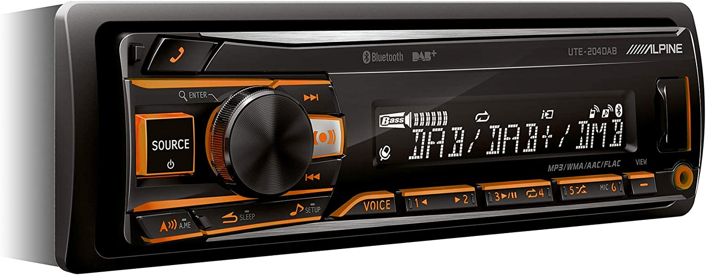 Alpine Autorradio UTE-204DAB, Dab, USB, Bluetooth, Negro
