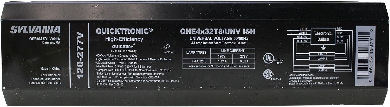 Fo32T8 32W T8 Sylvania QHE4X32T8//UNV Ish Fluorescent Ballast 120//277V 4 Lamp