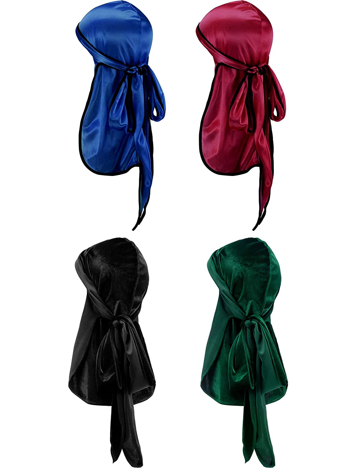 2 Pieces Velvet Durag 2 Pieces Silky Soft Durag Cap Headwraps Long Tail Wide Straps 360 Waves
