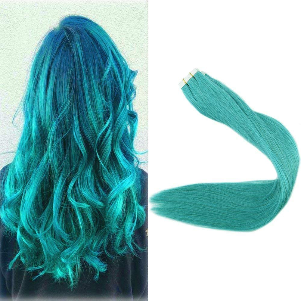 Full Shine 22'' 25Gram 10 Pcs Per Package Teal Tape Extensions Human Hair Tape on Hair Extensions by Full Shine