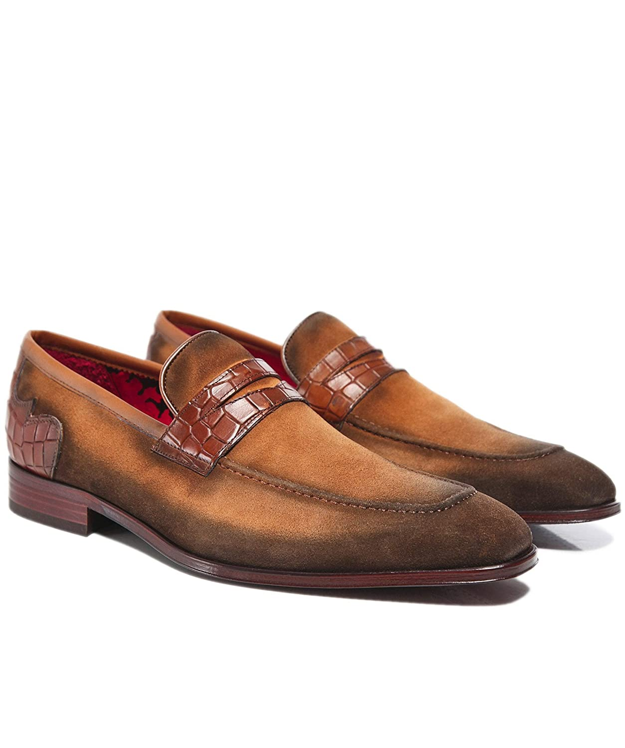 Light Brown Jeffery West Men's Burnished Suede Soprano Penny Loafers Light Brown