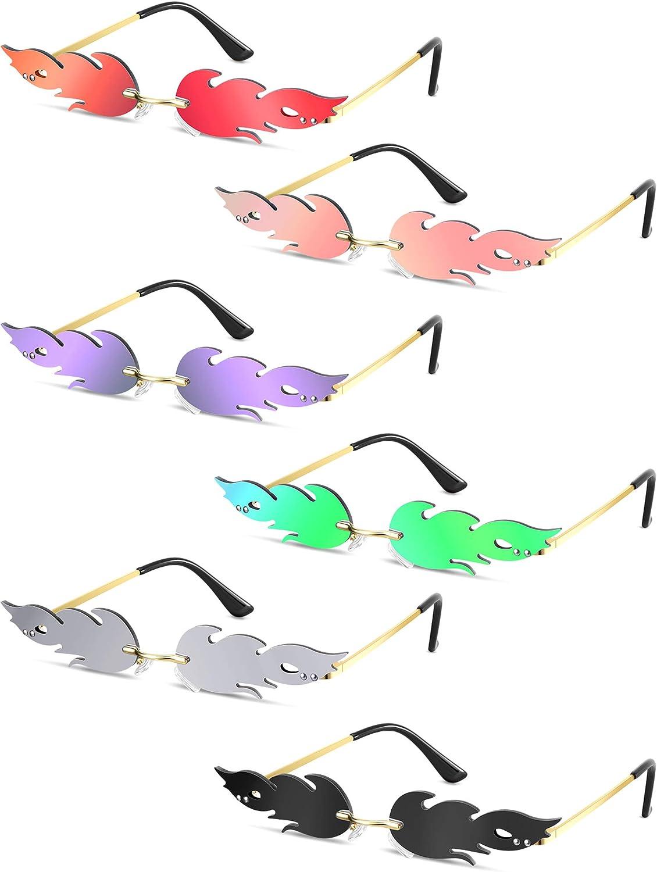 6 Pairs Fire Flame Sunglasses Novelty Flame Sunglasses Rimless Sunglasses for Women Men