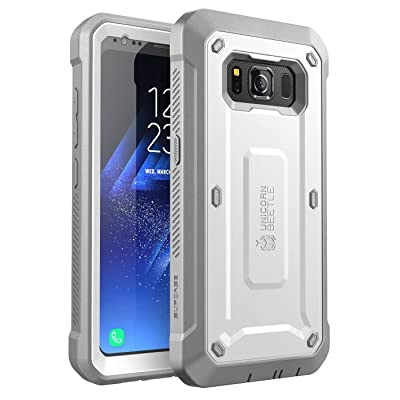 SUPCASE NA Galaxy S8 Active Case, Unicorn Beetle Pro Series Full-Body Rugged Holster Case with Built-in Screen Protector for Samsung Galaxy S8 Active, White/Gray