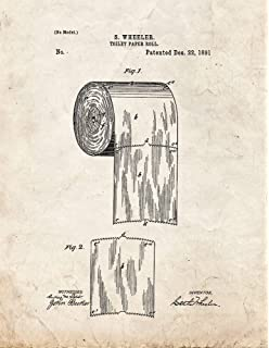 Amazon toilet paper roll patent print art poster blueprint 85 toilet paper roll patent print art poster old look 85 x malvernweather Image collections