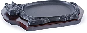 "FMC Fuji Merchandise Corp Cast Iron Steak Plate Sizzle Griddle with Wooden Base Steak Pan Grill Fajita Server Plate Household use or Restaurant Supply (Cow Shape 12""L)"