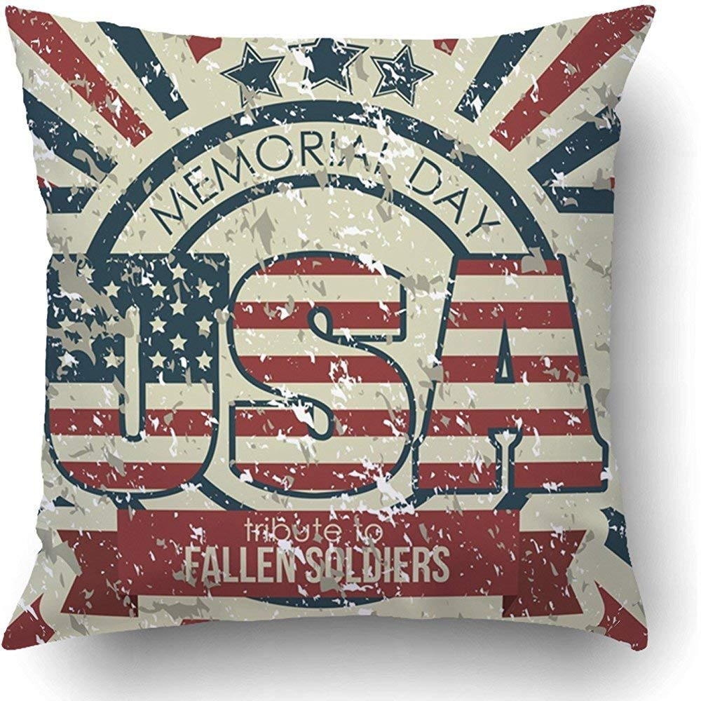 I DO Throw Pillow Covers Blue Americana Patriot United States of America Usa Red American Flag Faded Military Symbol Flag Polyester Square Hidden Zipper Decorative Pillowcase by I DO (Image #1)
