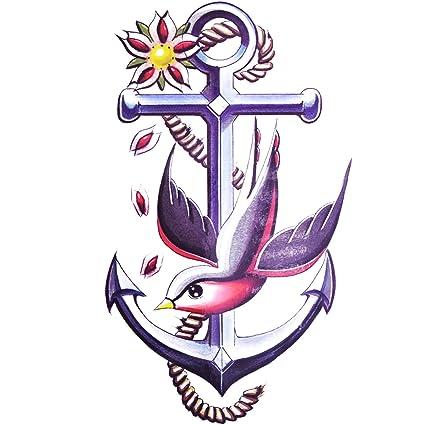 COKOHAPPY Grande Temporales Tatuaje Peace Ancla Pájaro: Amazon.es ...