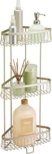 iDesign 62885 York Metal Wire Corner Standing Shower Caddy 3-Tier Bath Shelf Baskets for Towels, Soap, Shampoo, Lotion, Accessories, Satin