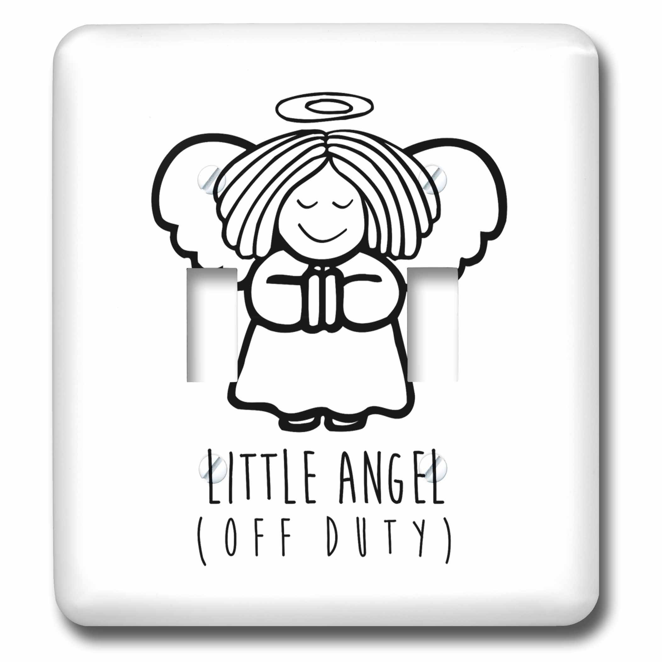 3dRose Russ Billington Designs - Little Angel- Off Duty- Cute Angel drawing in Black and White - Light Switch Covers - double toggle switch (lsp_261898_2) by 3dRose