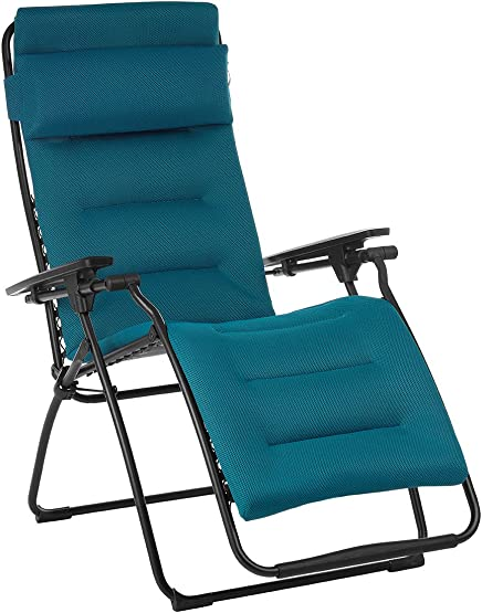 Lafuma Futura Air Comfort Zero Gravity Recliner Coral Blue Padded Folding Outdoor Reclining Chair