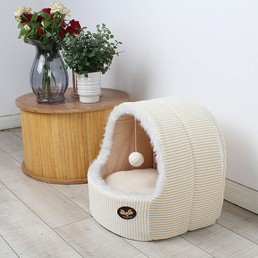 Beige 42x40x38cm Beige 42x40x38cm YangMi pet Bed- Cat Litter Winter Warm Seasons Universal Small Dog Net Red Dog Nest Semi-Closed Cat Supplies Large Pet Nest (color   Beige, Size   42x40x38cm)