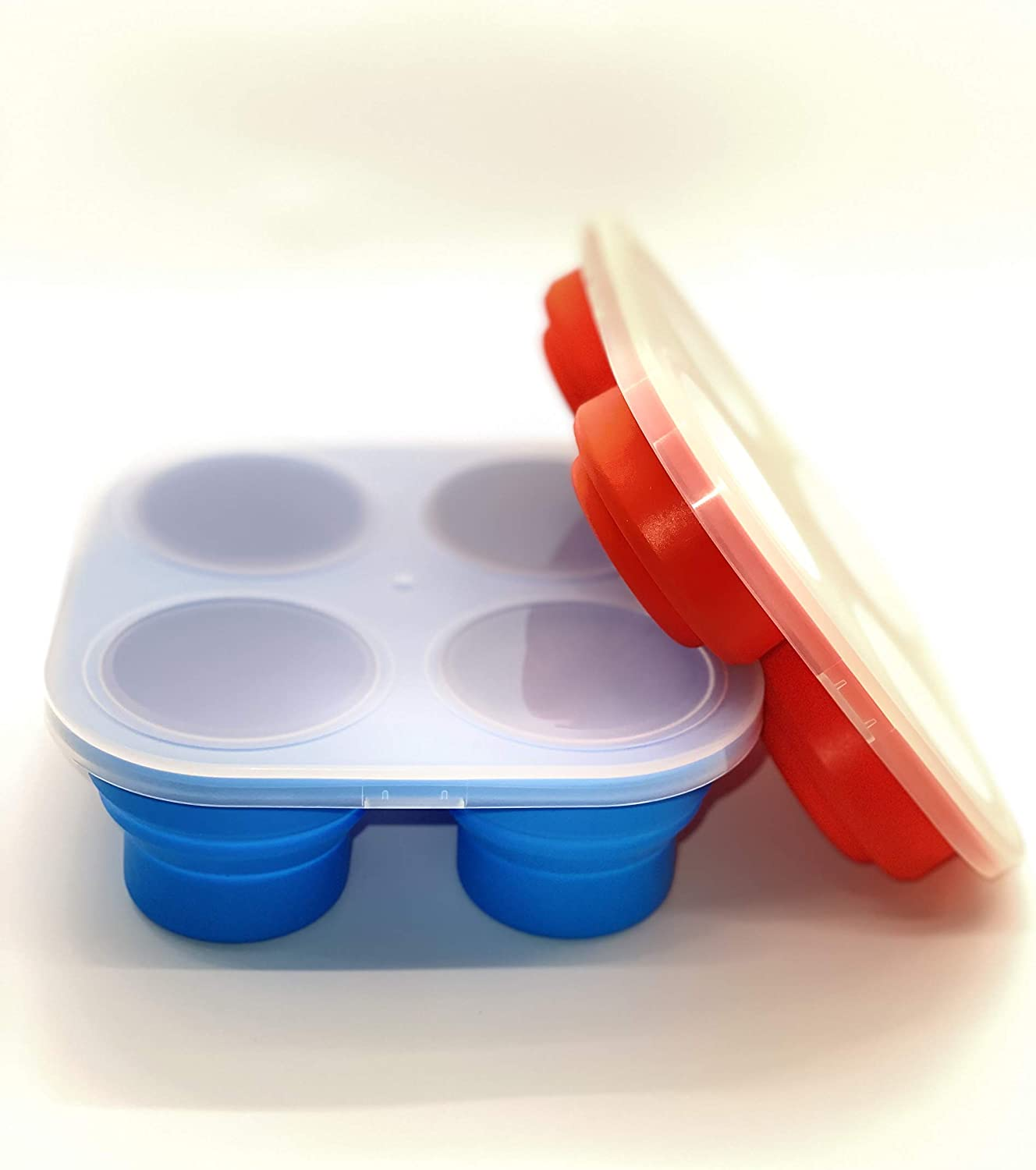 Collapsible Silicone Baby Food Tray (Coral Red)