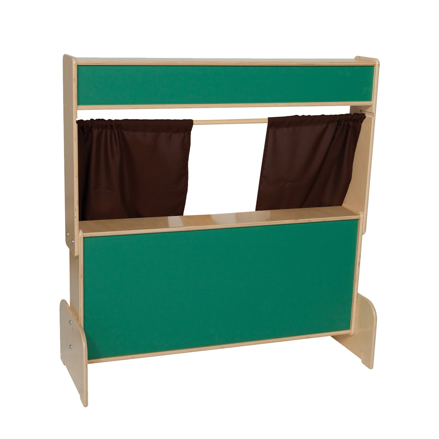 Wood Designs 21650BN Deluxe Puppet Theater with Chalkboard and Brown Curtains