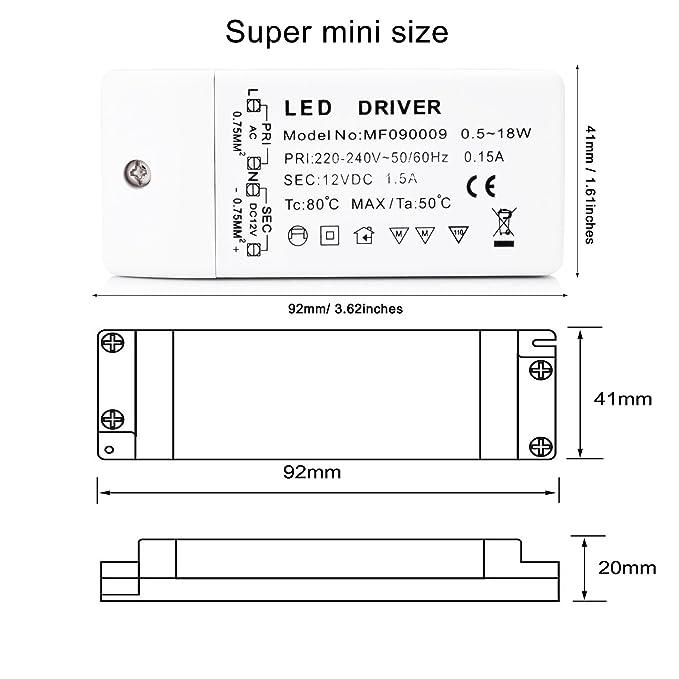 21 opinioni per Liqoo LED 18 W Trasformatore Driver Supply Alimentazione Elettrica DC 12V AC