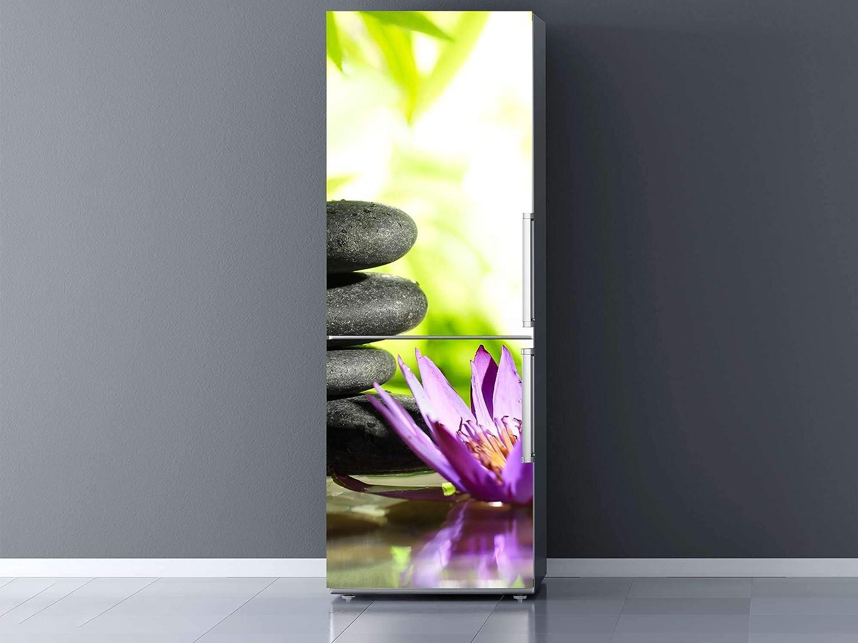 Oedim Vinilo para Frigorífico Piedras Negras y Flor de Loto Zen 200x60cm | Adhesivo Resistente y Económico | Pegatina Adhesiva Decorativa de Diseño Elegante