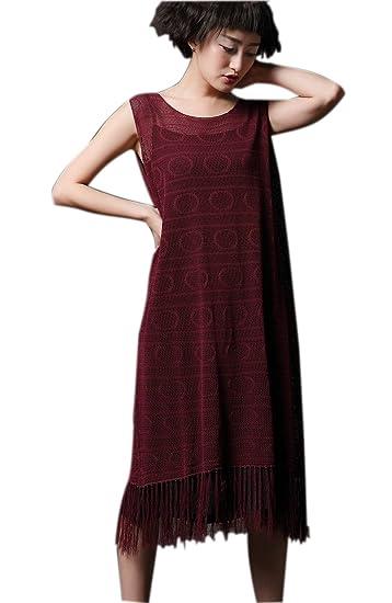 Amazoncom Venustar Womens Tassel Trim Casual Dress Knitted