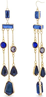 De Colección Mujeres Joyería gota cuelgan Pendientes Azul Cristal Estrás gota de agua